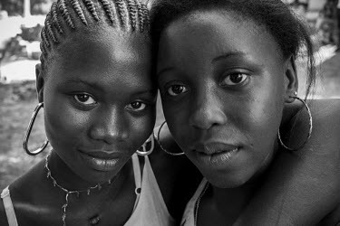 Africa, Guinea-Bissau, Cantanhez, Catesse. 2013-03-30. Two young women during a celebration in the.../Ernst Schade