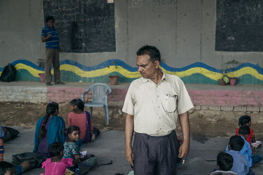 Rajesh Kumar Sharma, the founder of the school, ensures that everything is in its right place ./Brice Garcin / Hans Lucas
