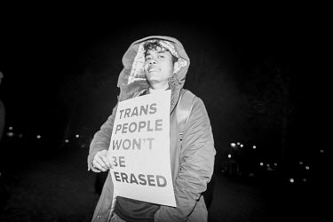 Netherlands, Amsterdam, Museumplein, 28th October 2018, A speaker at the Trans Solidarity Rally.../Daphne Channa Horn