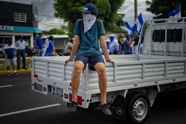 Central America - Nicaragua, capital city Managua: An anti-Ortega rebel during a rally demanding.../Juan Carlos
