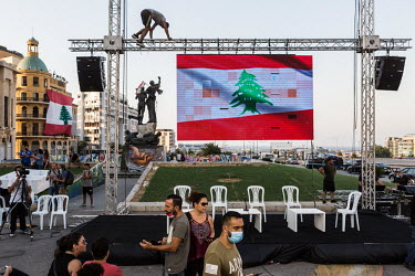 PRESS CONFRENCE OF ANTI GOVERNMENT GROUPS IN CENTRAL BEIRUT/Karim Daher / Hans Lucas