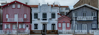 Portugal, Beira Litoral, Costa Nova. 2020-12-28. Traditional and colourful houses near the Atlantic.../Ernst Schade