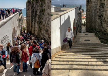 Portugal, Lisbon. 2020-05-12. Two images of the same location in the populair tourist destination.../Ernst Schade