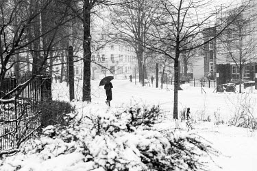 Man met paraplu loopt in de sneeuw / Man with umbrellan walks in the snow/Unai Risue�o