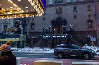 The New Victory Theater has a big 'Black Lives Matter' sign up at 42nd St in support of the BLM.../Deen van Meer