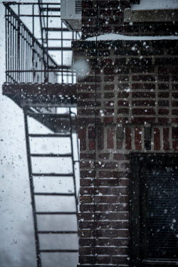 snow, flurries falling onto fire escape outside my window at 854 Ocean Avenue during.../Deen van Meer